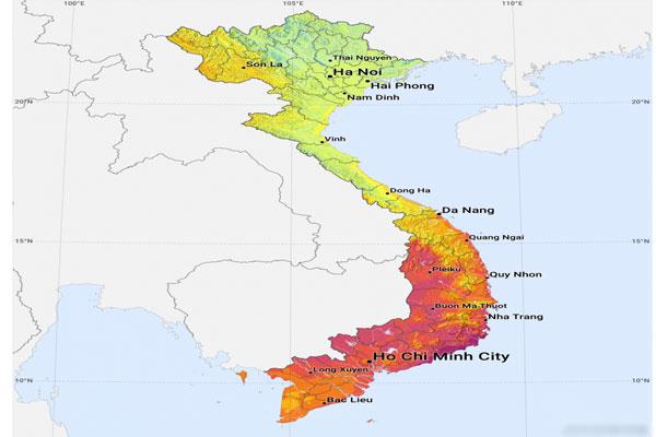 Bản đồ năng lượng bức xạ việt nam