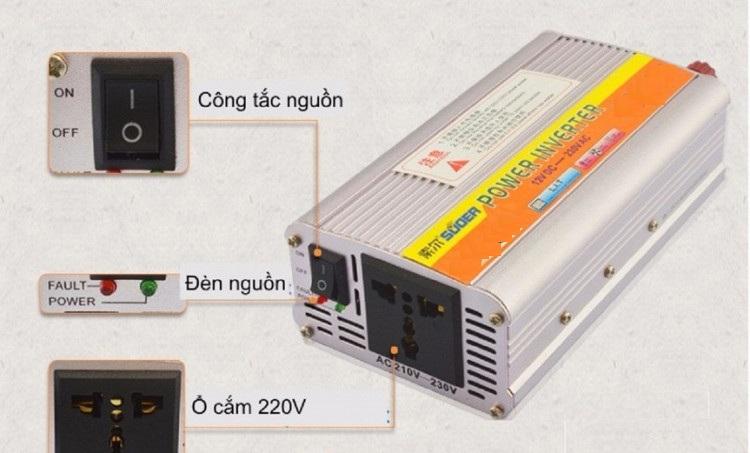 Kích Điện Suoer 12v lên 220v 2000W